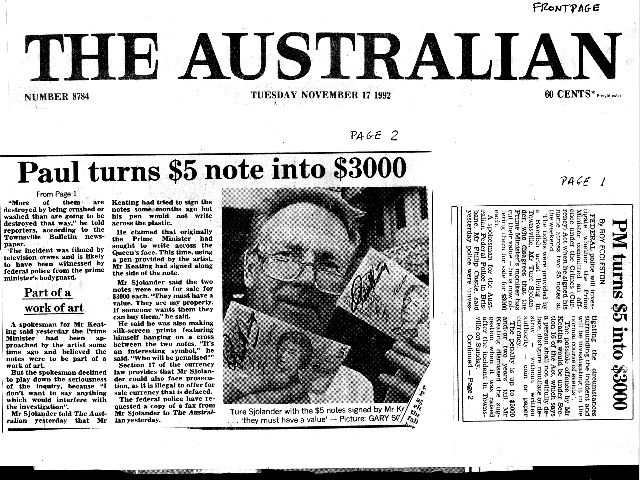 The Keating $ 5 Note Signed